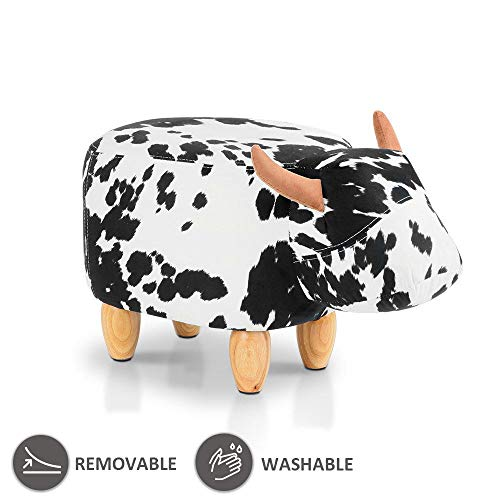 JOYBASE Washable Animal Kids Footrest Stool/Bench, Soft Plush Ride-on Ottoman Seat, for Children and Adults (Cow) by JOYBASE