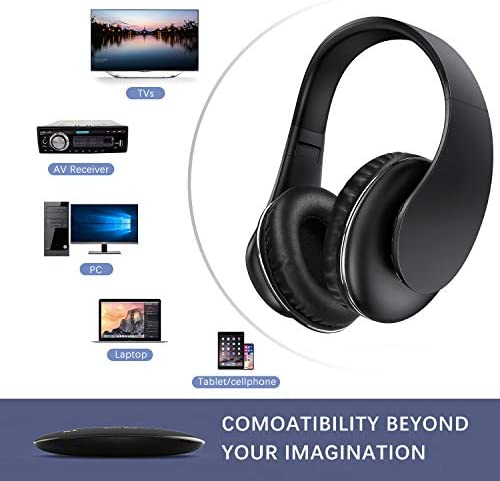 Wireless TV Headphones - Jelly Comb Over Ear Headsets with 2.4GHz RF Transmitter(Support Optical, 3.5mm AUX, RCA Audio Out), 100ft Wireless Range and Rechargeable 10 Hour Battery