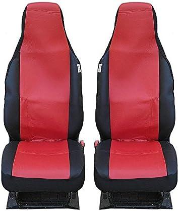 2 Vordere Auto SitzbezÜge SchonbezÜge Schonbezug Rot Schwarz Einteilig Auto