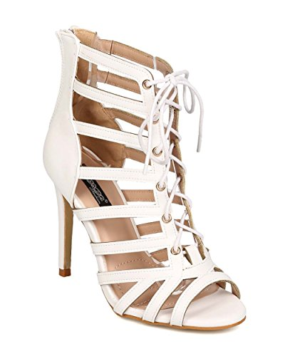 DbDk EH35 Women Leatherette Peep Toe Caged Strappy Lace Up Stiletto Sandal White APV6LmH6S