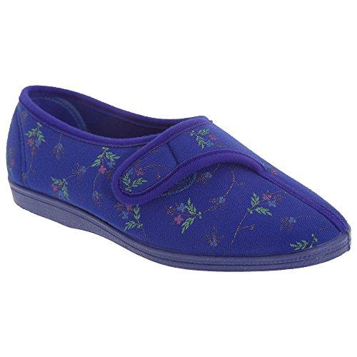 Dormeurs Femmes / Dames Touch Dora Pantoufles Florales Bleu Marine