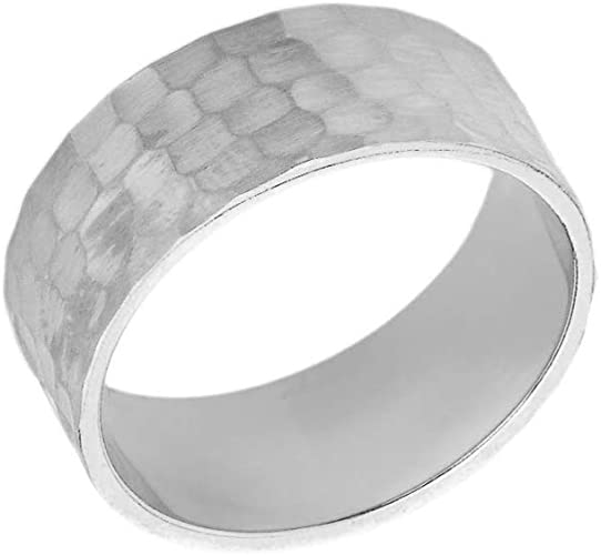 Solid Sterling Silver 5mm Stylish Hammered Wedding Band Ring sizes  5 6 10 11 12