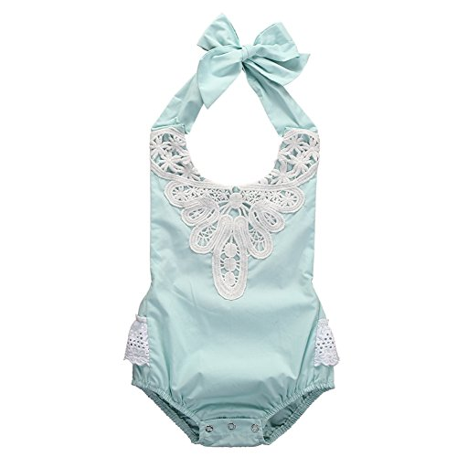 Rainbowlight Baby Girls Kid Halter Lace Romper Backless Sunsuit Jumpsuit Dress (Baby Boy Light Blue Romper)