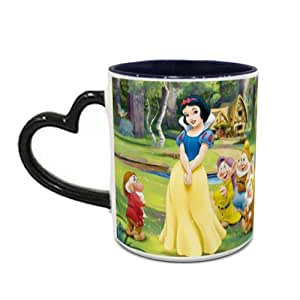 IMPRESS Heat Sensitive Heart Handle Blue Ceramic Coffee Mug with Snow White and Warf Design 1001