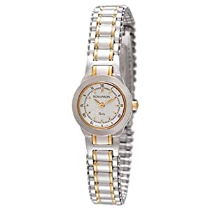 Romanson Women's White Dial 2 Tone Stainless Steel Band Watch - Round - NM7627L-2T