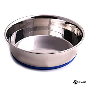 Max and Neo Heavyweight Non-Skid Rubber Bottom Stainless Steel Dog Bowl – We Donate a Bowl to a Dog Rescue for Every Bowl Sold (64 Ounce – 2 Quart – 8″ Diameter)