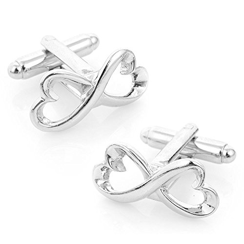 Men's Executive Silver Tone Heart Shape Endless Love Infinity Symbol Cufflinks Cuff Links