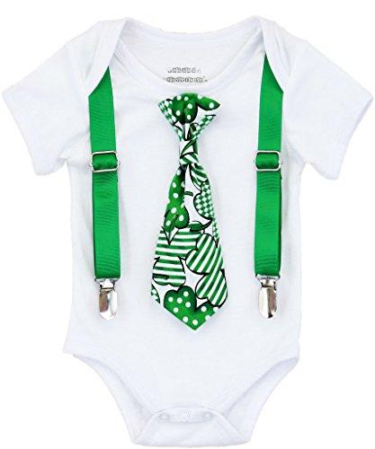 Noah's Boytique Baby Boys St. Patrick's Day Outfit Clover Tie 0-3 Months