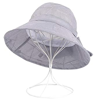 e41367fe0cd SPA Women Summer Chiffon Flower Bow Bucket Hat Casual Sunscreen Visor Beach  Hat  Amazon.in  Clothing   Accessories