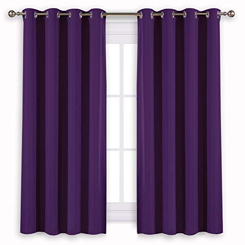 NICETOWN Insulated Curtains Blackout Draperies - Window Treatment Blackout Curtains/Drapes for Bedroom/Living Room Window (63 inch Long, 2 Panel Set, Royal Purple)