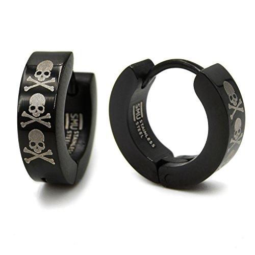 Pair Stainless Steel Crossed Bone Skulls Black Hoop Huggie Earrings