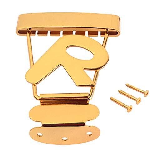 dezirZJjx Orchestral Instrument, Bracket, Tailpiece Bridge R Alphabet Short 6 String Trapeze Tailpiece Bridge for Archtop Jazz Bass Guitar - Golden