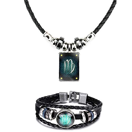 WLLAY Retro 12 Constellations Beaded Hand Woven Leather Bracelet and Rectangle Pendant Necklace Zodiac Sign Jewelry Set (Virgo)