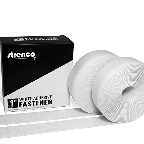 Strenco 1 Inch Self Adhesive Hook and Loop - 5 Yard Set - White Sticky Back Tape Fastener - Light Weight
