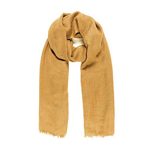 Scarves for Women: Lightweight Elegant Solid colors Fashion Scarf by MIMOSITO (2 Fringed Edges, Mustard Yellow)