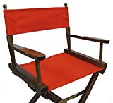 PERSONALIZED EMBROIDERED Gold Medal Contemporary 18'' Table Height Walnut Frame Directors Chair - Orange