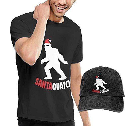 QQWBB Santaquatch Christmas Bigfoot T-Shirt Short Sleeve Denim Hat Men