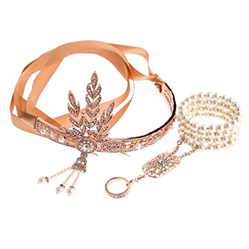Ubbetter The Great Gatsby Inspired Leaf Simulated Pearl Headband Hair Tiara and Bracelet Ring Set (Rose Gold)