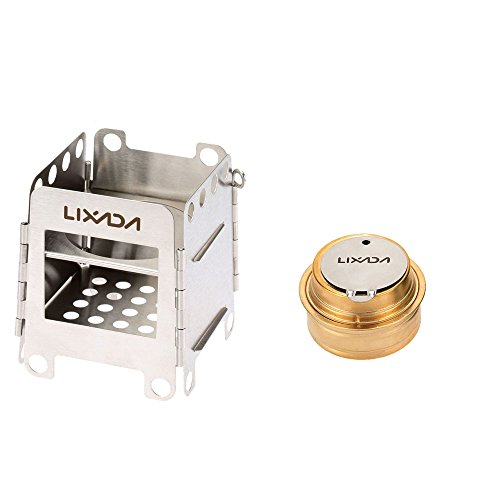 Lixada Camping Stove, Stainless Steel Folding Wood Stove+Alcohol Burner Pocket Stove+550ml Mug Titanium Cup for Outdoor Camping Cooking Picnic (Stove+Burner) (Best Alcohol For Camping)