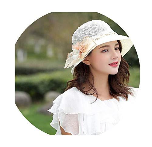 Straw hat Female Flowers Pot Cap Travel Bike Sun Visor Breathable Folding Sun hat Photo Beach hat,3
