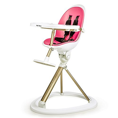 UPC 713831037724, Hot Mom Tablefit High Chair with Removable Tray and Soft Insert, 360 Degree Rotation, Pink