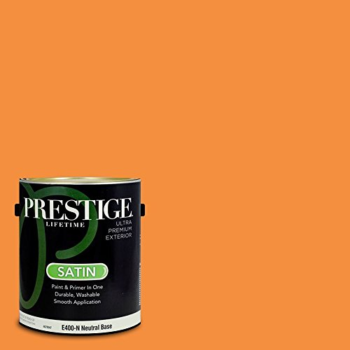 Prestige Paints Exterior Paint and Primer In One, 1-Gallon, Satin,  Comparable Match of Valspar Pumpkin ()
