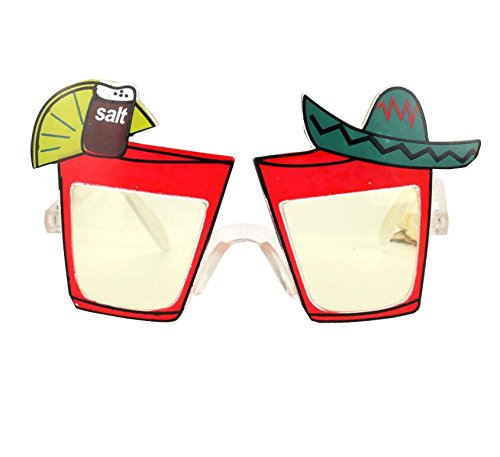 Funny Party Sunglasses Fiesta Sunglasses Lemon Juice Cocktail Wine Style Eyewear for Fiesta Mexican Fancy Dress Party Costume Photo Props,Red Frames (Novelty Sunglasses Cocktail)