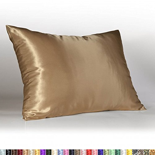 Sweet Dreams Luxury Satin Pillowcase with Zipper, Queen (1-Pack) Size, Camel (Silky Satin Pillow Case for Hair) By Shop Bedding (1 Pack Case)