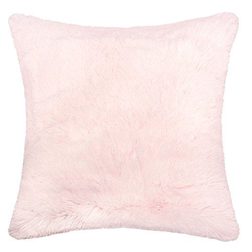 Select Plush Super Pillow Top - Homey Cozy Faux Fur and Flannel Decorative Pillow, Super Soft Shaggy Fleece Fuzzy Lightweight, Feather Filled, Pink, Synthetic