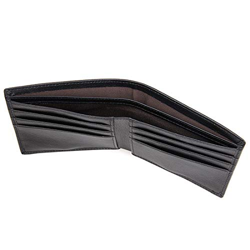 Mens Genuine Leather Wallet Slim Bifold RFID Blocking Stylish thin Wallet For Men (Black) ()