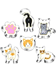 Kitty Cat Cookie Cutter Set-6 Piece-Kitty Cat Face, Kitty Butt, Kitty Cat Paw and 3 Cute Shapes Kitty Cat Body Cookie Cutters Molds for Kitty Cat Themed Party