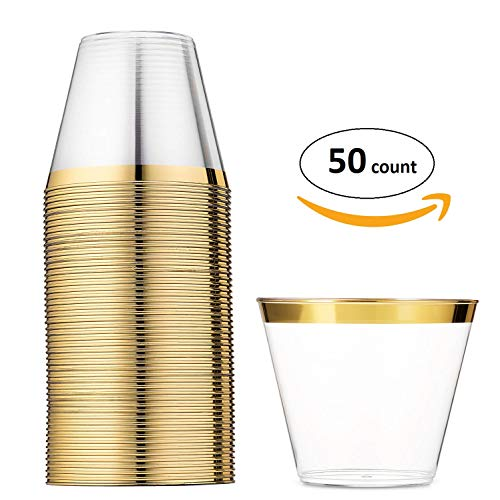 Gold Rimmed Disposable Plastic Cups ~ Party Birthday Wedding New Year's Eve Coctail Punch Champagne Tumblers [9 Oz ~ 50 Pack]