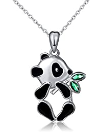 S925 Sterling Silver Lovely Panda Eat Bamboo Pendant Necklace