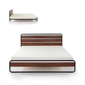 zinus horizon metal u0026 wood platform bed with wood slat support queen