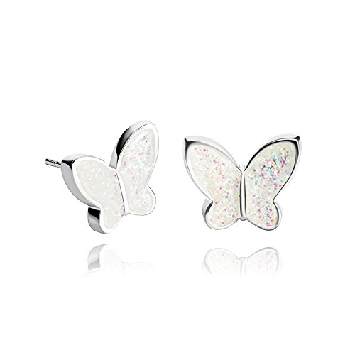 - Shiny White Butterfly Stud Earrings Nice Jewelry Accessory for Spring Gift