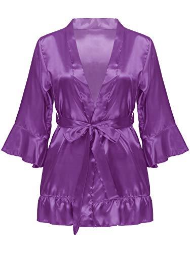 Hularka Women's Pure Color Satin Short Kimono Bridesmaids Bathrobes Sexy V-Neck Robes with G-String
