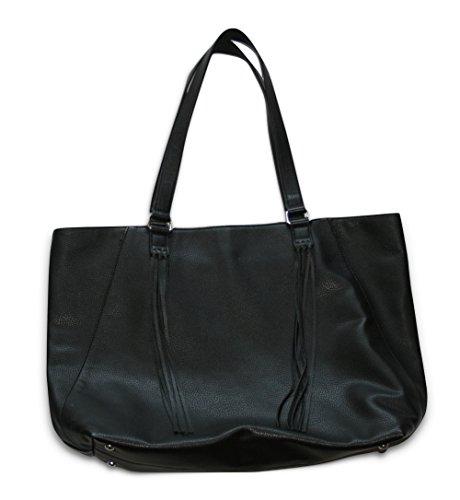 Banana Republic Faux Leather Fringe Tote Handbag (Black) Bag 192221-00-1 (Banana Republic Leather)
