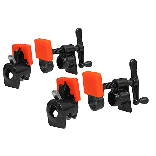 Peachtree 665 3/4'' Pipe Clamp Fixture 2 Pack with 4 Sili Pad Clamp Protectors. Perfect set for Small or Large Panel Glue Ups Works with 3/4 inch Threaded Black Pipe by Peachtree Woodworking Supply