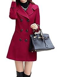 JWK Women's Double-Breasted Slim Solid Wool-Blend Winter Pea Coats