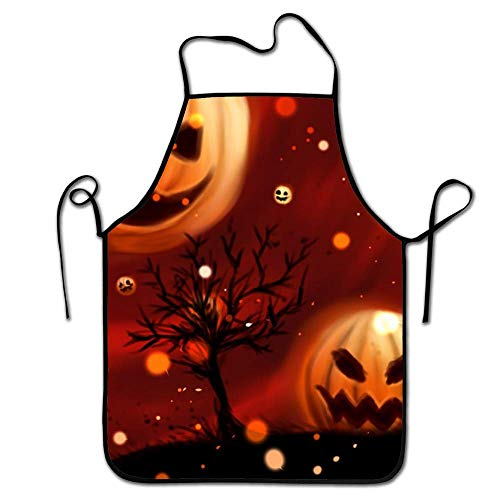 amiuhoun Personalized Adult Chef Kitchen Aprons, Pumpkin Halloween Wallpapers Funny Unisex Kitchen Apron -