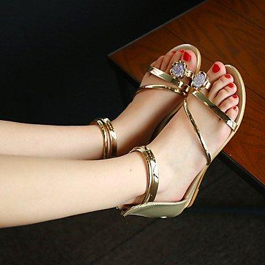 LvYuan Mujer-Tacón Plano-Zapatos del club-Sandalias-Exterior Vestido Informal-PU-Plata Oro Silver