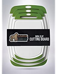 The Original Gorilla Grip Tm Set Of 3 Non Slip Reversible Cutting Boards Bpa Free Fda Approved Materials Set Of 3 Boards Green