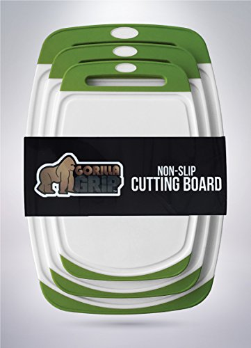 The Original GORILLA GRIP (TM) Set of 3 Non-Slip Reversible Cutting Boards, BPA Free, FDA Approved Materials (Set of 3 Boards: Green)