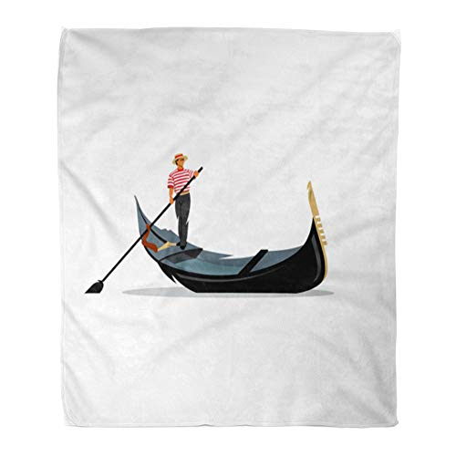 Emvency Throw Blanket Warm Cozy Print Flannel Venice Gondola Gondolier Rowing Oar Sign Italy Travel Italian Man Profession Comfortable Soft for Bed Sofa and Couch 50x60 Inches