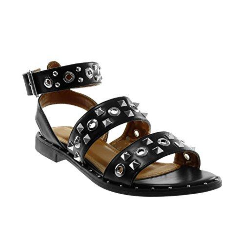 Tanga Sandalen Schuhe Angkorly cm String 2 Schwarz Perforiert Knöchelriemen Besetzt Blockabsatz Nieten Damen EfwqHw8