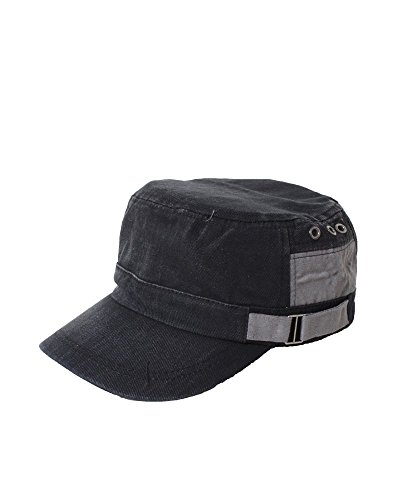 David & Young Men's Washed Textured Cotton W/ Faux Suede And Belt Cadet Hat (Black)