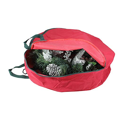 """24"""" Red Heavy Duty Christmas Wreath or Spiral Tree Storage Bag with Handles"""