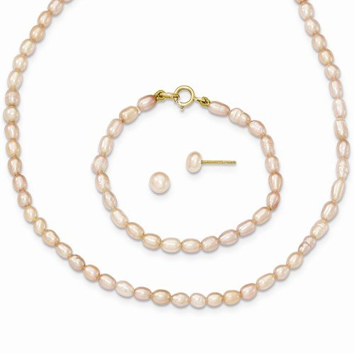 Solid 14k Yellow Gold Pink FW Cultured Pearl 12 in. Necklace Chain, Bracelet & Earrings Set