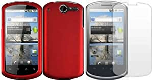 Red Hard Case Cover+LCD Screen Protector for Huawei Impulse 4G U8800