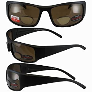 BlueWater Polarized Bifocal 1 Sunglasses Matte Black Frames +2.5 Magnification Brown Lenses by Global Vision